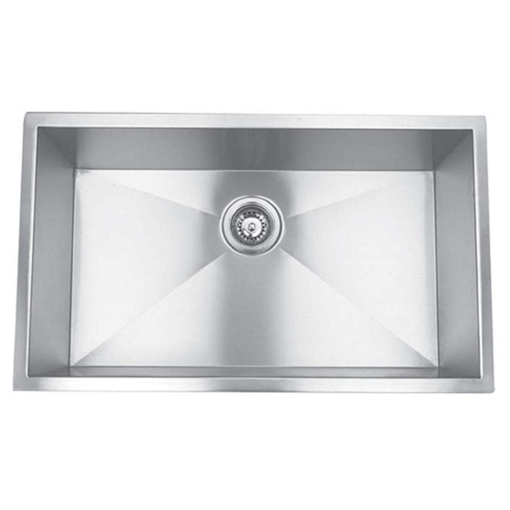 30″ Large Single Bowl <br> 90 Degree Undermount Kitchen Sink
